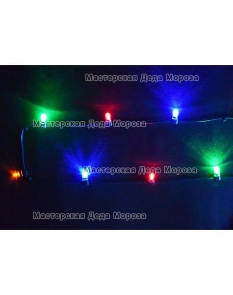 Светодиодная гирлянда Клип Лайт 12V цвет  мульти 100м шаг 15см  666 LED провод зеленый