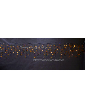 Светодиодная бахрома 3*0,6м 150LED цвет желтый, провод черный, IP44, постоянное свечение