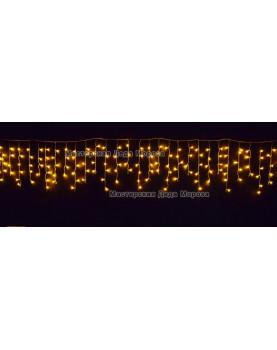 Светодиодная бахрома 3*0,6м 150LED цвет желтый, провод прозрачный,IP44, постоянное свечение