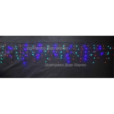 Светодиодная бахрома 3*0,6м 150LED цвет мульти, провод черный