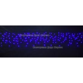 Светодиодная бахрома 3*0.6м 150LED цвет синий,провод черный