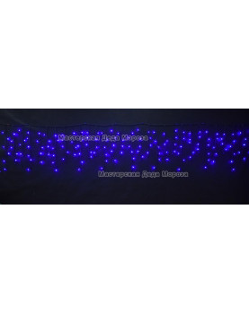 Светодиодная бахрома 3*0.6м 150LED цвет синий, провод черный, IP44, постоянное свечение