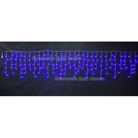 Светодиодная бахрома 3*0.6м 150LED цвет синий, провод прозрачный, IP44, постоянное свечение