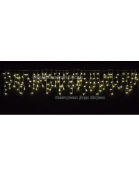 Светодиодная бахрома 3*0.6м цвет тёплый белый ,провод прозрачный, IP54 постоянное свечение