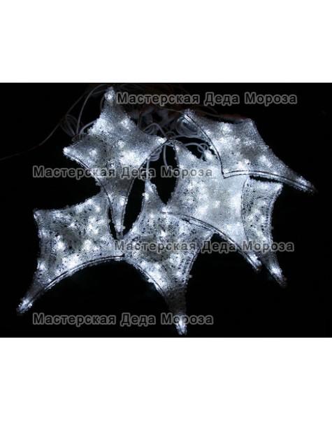 Светодиодная гирлянда Мерцающие звёзды 6шт цвет бело-синий