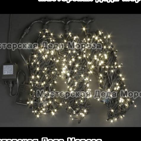 Светодиодная гирлянда Клип Лайт 3 нити по 20м, цвет теплый белый, 24V