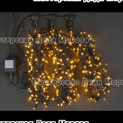 Светодиодная гирлянда Клип Лайт 3 нити по 20м, цвет желтый, 24V