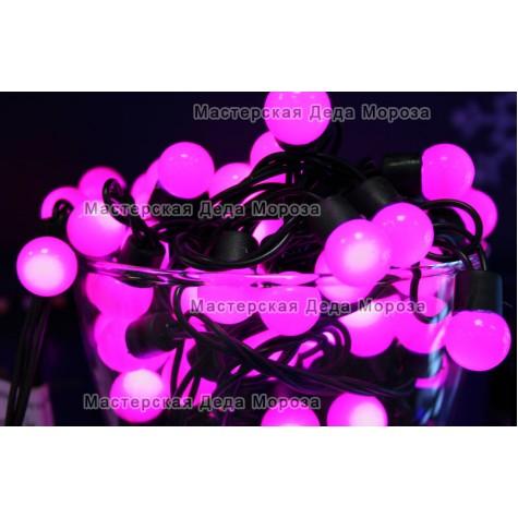 Светодиодная гирлянда Мультишарики d-18мм 10м цвет розовый