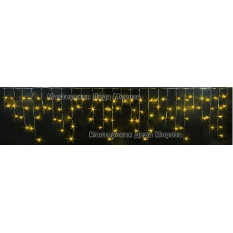 Светодиодная бахрома 3м*0,5м цвет желтый, провод черный