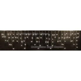Светодиодная бахрома 3*0.5м цвет тёплый белый ,провод прозрачный