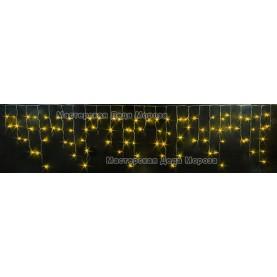 Светодиодная бахрома 3*0,5м цвет желтый, провод прозрачный