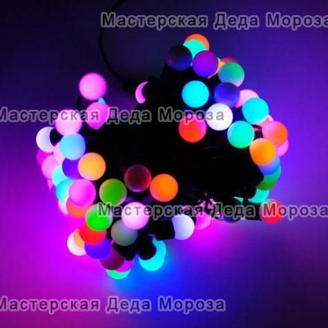 Светодиодная гирлянда Мультишарики d-18мм 10м цвет RGB медленный флеш