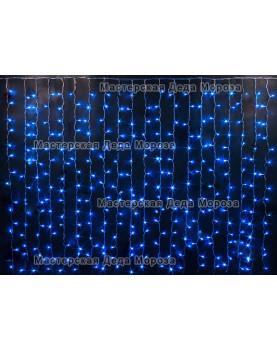 Светодиодный занавес 2*1,5м цвет синий, провод прозрачный, с контроллером, IP44