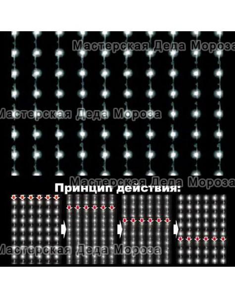 Светодиодный занавес ВОДОПАД 2*3м цвет белый