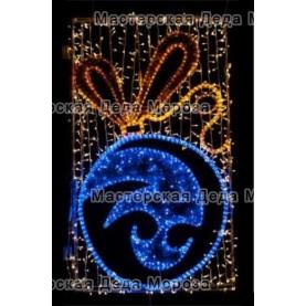 Световое панно «Шар новогодний» 200см*100см