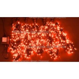 Светодиодная гирлянда Клип Лайт 5 нитей по 20м цвет красный 24V  постоянное свечение провод черный IP54