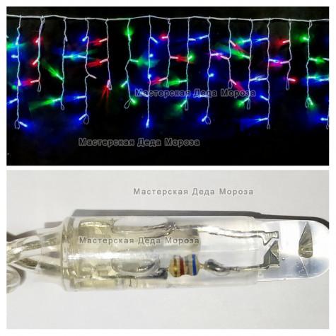 Светодиодная бахрома с мерцанием 3х0,5м цвет мульти, герметичный колпачок, провод прозрачный, IP65