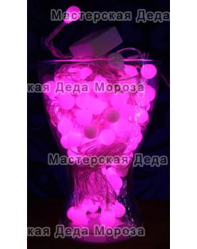 Светодиодная гирлянда мультишарики 10м цвет розовый