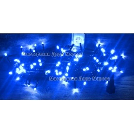Светодиодная гирлянда 24V с мерцанием 10м цвет синий провод черный