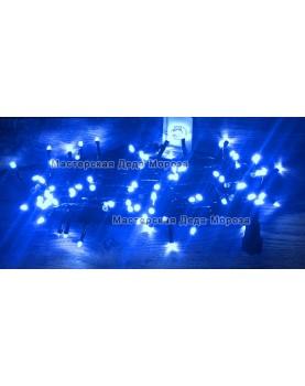 Светодиодная гирлянда Мерцающая 10м цвет синий, провод черный