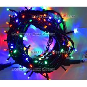 Светодиодная гирлянда 10м цвет мульти, провод черный IP44