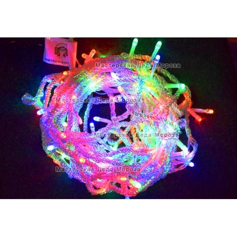 Светодиодная гирлянда 10м цвет мульти, провод прозрачный IP44