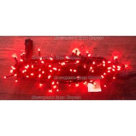 Светодиодная гирлянда 24V с мерцанием 10м цвет красный провод черный