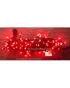 Светодиодная гирлянда 24V с мерцанием 10м цвет красный провод черный IP54