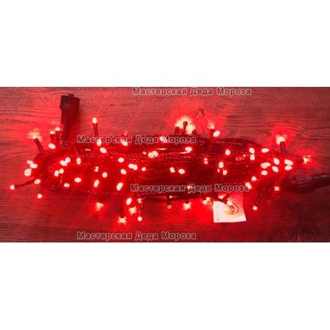 Светодиодная гирлянда Мерцающая 10м цвет красный, провод черный