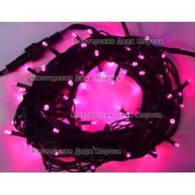 Светодиодная гирлянда 24V 10м цвет розовый постоянное свечение провод черный IP54
