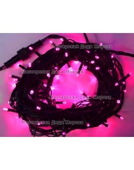 Светодиодная гирлянда 10м цвет розовый, провод черный 220V IP44