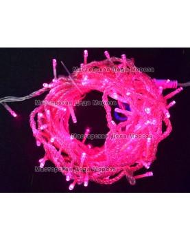 Светодиодная гирлянда 10м цвет розовый, провод прозрачный 220V IP44
