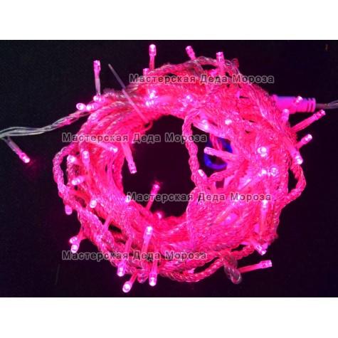 Светодиодная гирлянда 10м цвет розовый, провод прозрачный IP44
