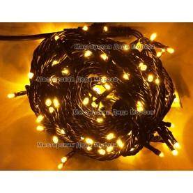 Светодиодная гирлянда 10м цвет желтый, провод черный IP44