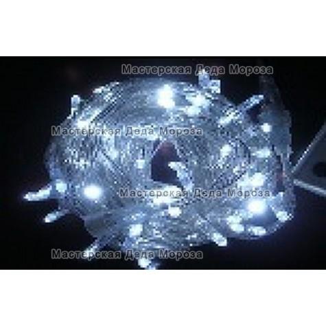 Светодиодная гирлянда Мерцающая длина 10м цвет белый провод прозрачный IP44