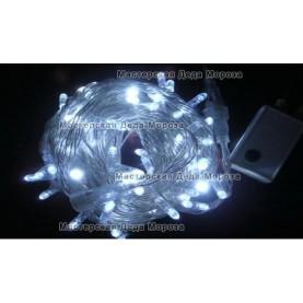 Светодиодная гирлянда 10м цвет белый, провод прозрачный IP44