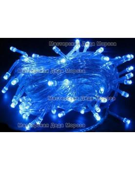 Светодиодная гирлянда цвет синий 10м провод прозрачный, 220V IP44