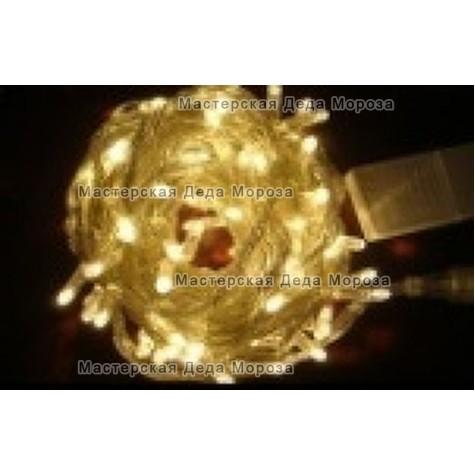 Светодиодная гирлянда 10м цвет теплый белый, провод прозрачный IP44