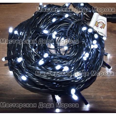 Светодиодная гирлянда 10м цвет белый, провод черный