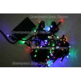 Светодиодная гирлянда цвет мульти 7м 100LED , провод черный IP22