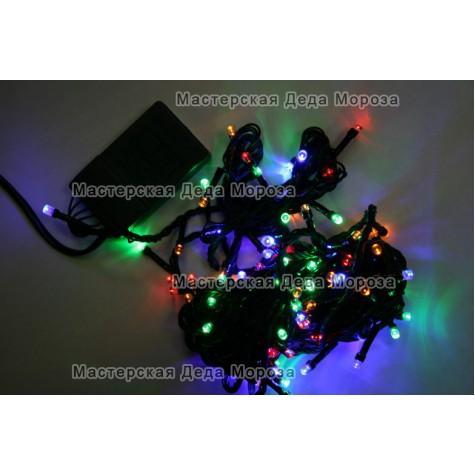 Светодиодная гирлянда 7м цвет мульти, провод черный IP22