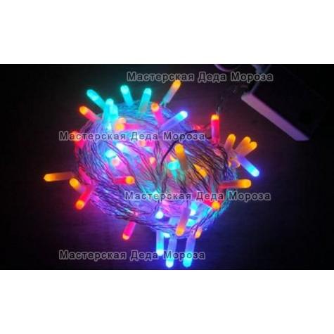 Светодиодная гирлянда 10м цвет мульти, провод прозрачный IP22