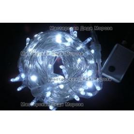 Светодиодная гирлянда цвет белый 10м 100LED  , провод прозрачный IP22