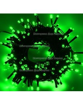 Светодиодная гирлянда 10м цвет зеленый, провод черный 220V IP44