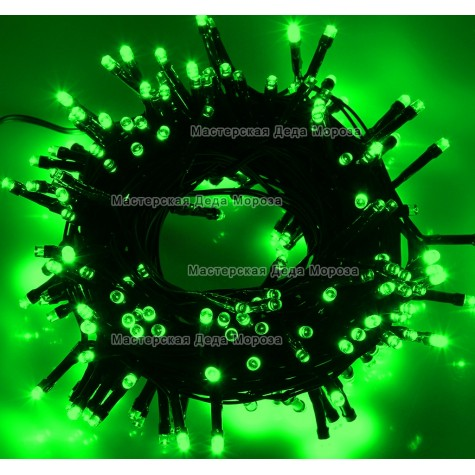 Светодиодная гирлянда 10м цвет зеленый, провод черный IP44