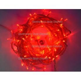 Светодиодная гирлянда 10м цвет красный, провод прозрачный IP44
