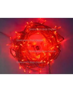 Светодиодная гирлянда 10м цвет красный, провод прозрачный, 220V  IP44