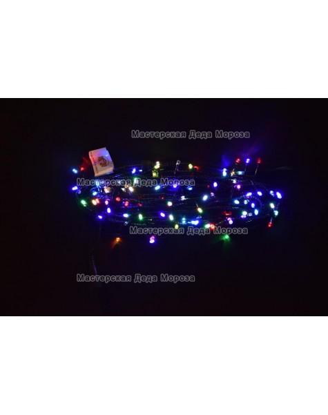 Светодиодная гирлянда RGB 10м провод черный
