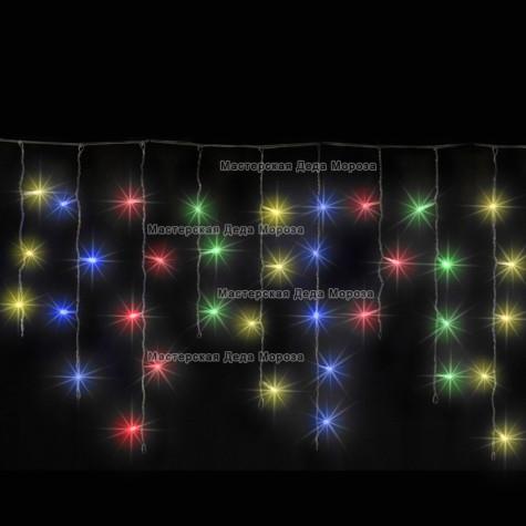 Светодиодная бахрома 3*0.5м цвет мульти ,провод черный, постоянное свечение, IP54