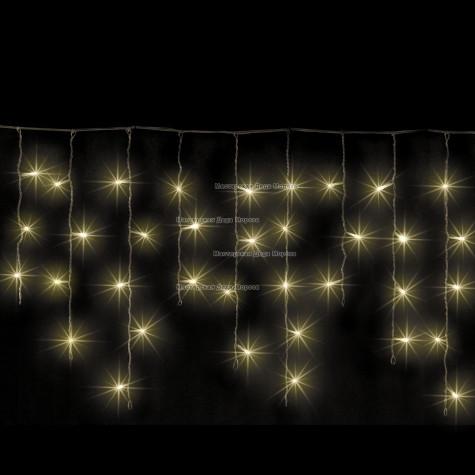 Светодиодная бахрома 3*0.5м цвет теплый белый ,провод черный, постоянное свечение, IP54